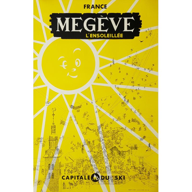 Original vintage poster Mégève l'ensoleillée Capitale du Ski