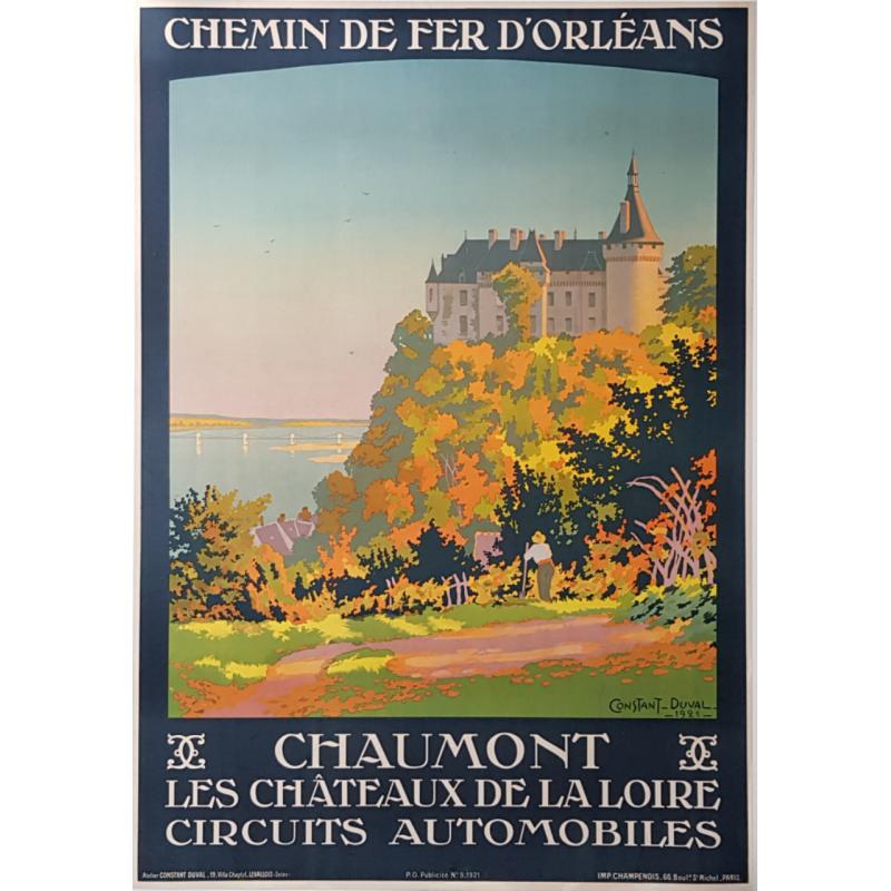 Affiche ancienne originale CHAUMONT Circuits automobiles CONTANT-DUVAL