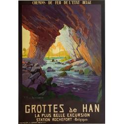 Original vintage poster Grottes de Han Belgium Julien LACAZE