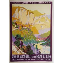 Affiche ancienne originale PLM Services Automobiles Jura Julien LACAZE