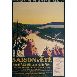 Original vintage poster Saison d'été Les Vosges Le Lac Blanc Geo DORIVAL