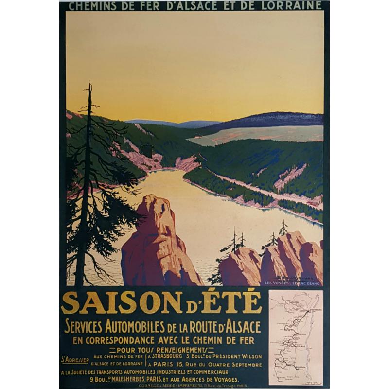 Affiche ancienne originale Saison d'été Les Vosges Le Lac Blanc Geo DORIVAL