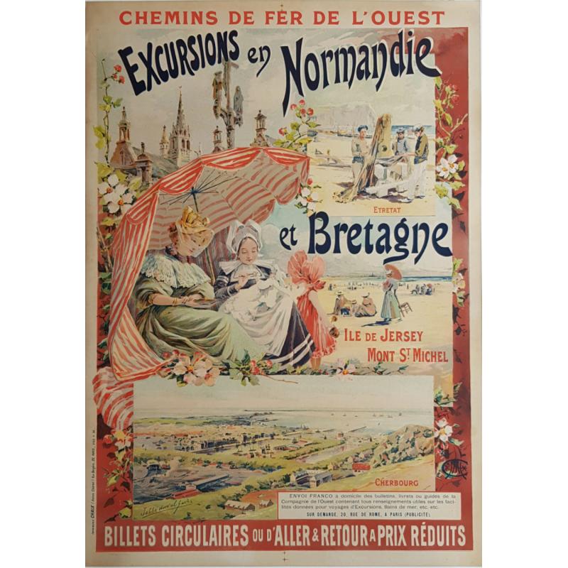 Affiche originale Excursions en Normandie et Bretagne