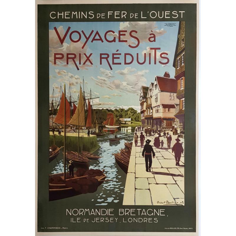 Affiche ancienne originale Normandie, Bretagne, Ile de Jersey, Chemin de fer de l'ouest