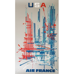 Affiche ancienne originale Air France USA Georges MATHIEU