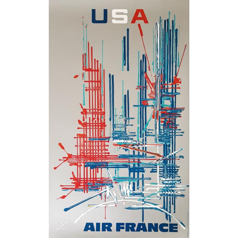 Affiche ancienne originale Air France USA Georges MATHIEU
