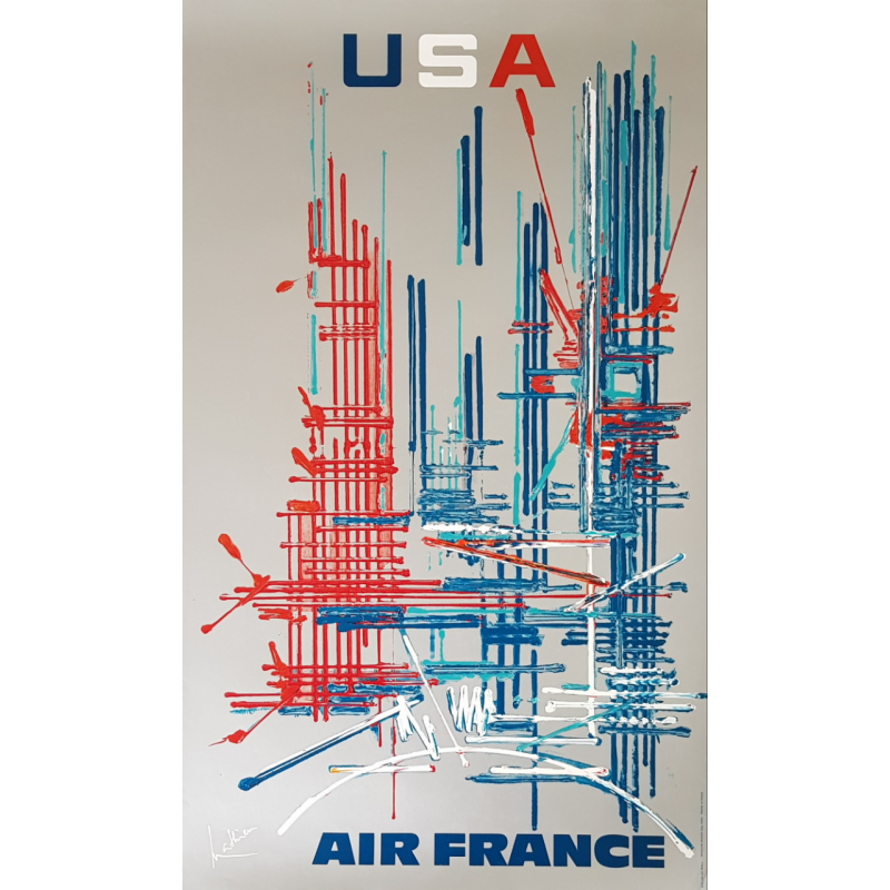 Original vintage poster Air France USA Georges MATHIEU