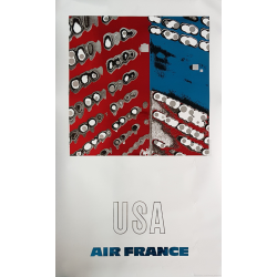 Affiche ancienne originale Air France USA Raymond PAGES