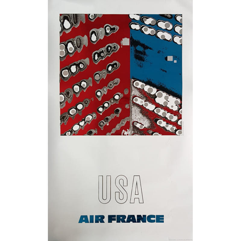 Original vintage poster Air France USA Raymond PAGES