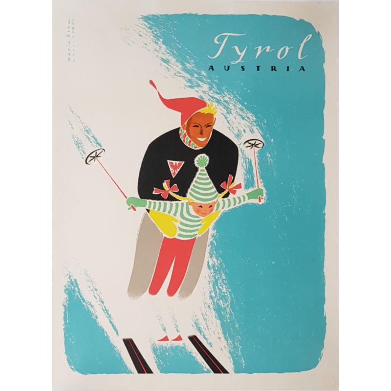 Affiche ancienne originale ski sport d'hiver Tyrol Autriche 1950s Maria REHM