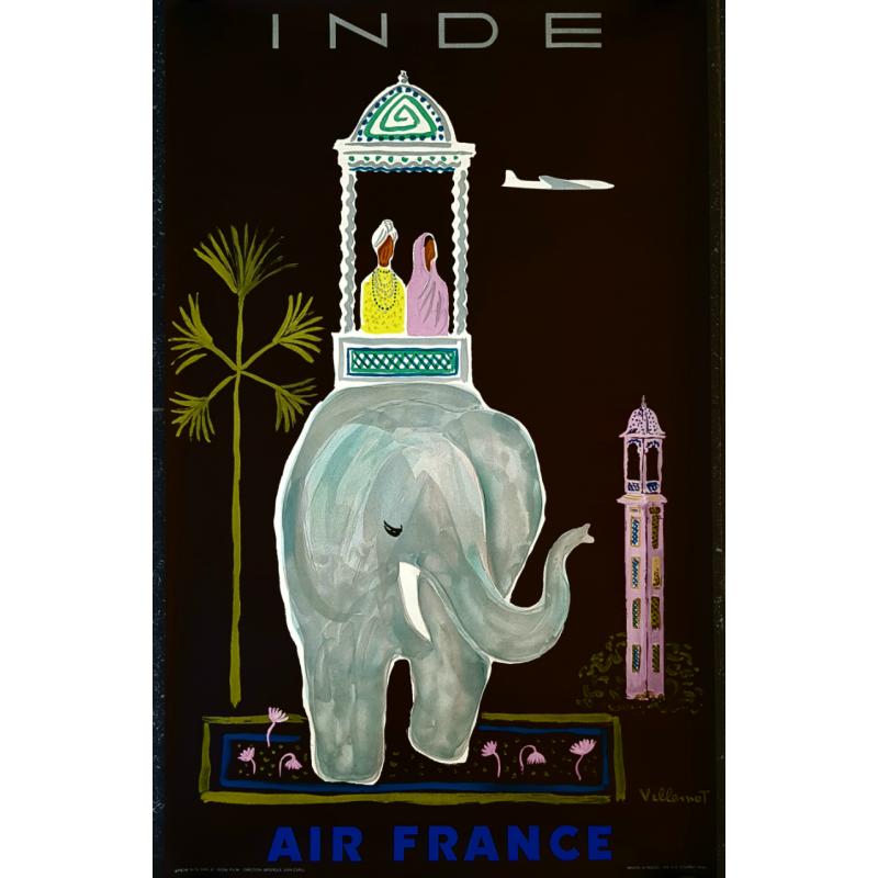 Affiche ancienne originale Air France India 1956 VILLEMOT