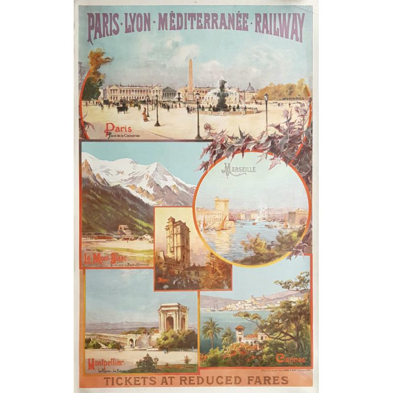 Original vintage poster PLM Railways Paris Cannes Mont-Blanc Emile BOURGEOIS