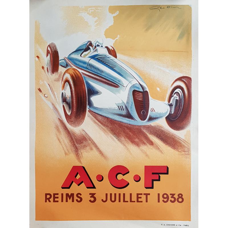 Affiche ancienne originale ACF Reims 1938 Geo HAM