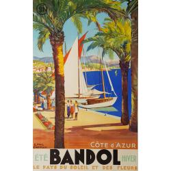 Affiche ancienne originale Bandol Côte d'Azur SNCF CHAMPSEIX