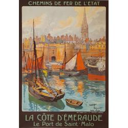 Affiche ancienne originale Saint-Malo La Côte d'Emeraude Maurice TOUSSAINT