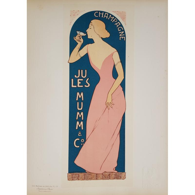 Maîtres de l'Affiche Original PLate 111 Champagne Mumm Realier-Dumas