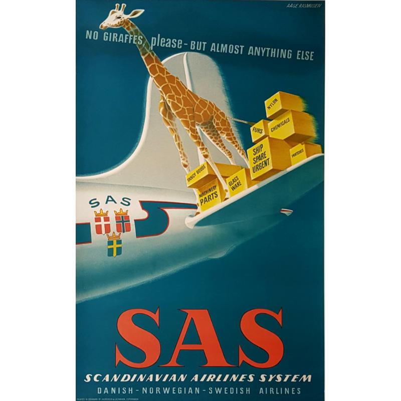 Original vintage poster SAS no giraffes please RASMUSSEN Aage
