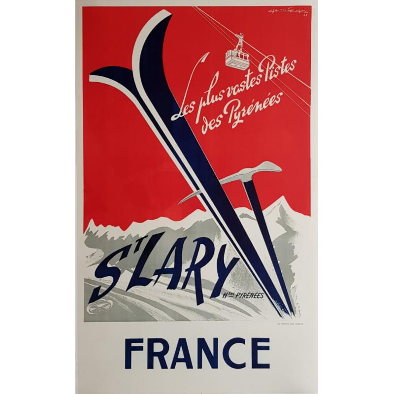 Affiche ancienne originale ski sport d'hiver Saint Lary Pyrénées