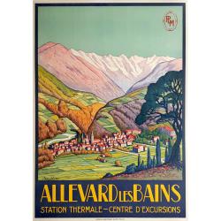 Affiche ancienne originale PLM ALLEVARD LES BAINS Jean JULIEN