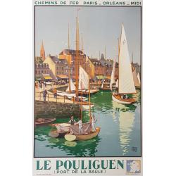 Affiche ancienne originale Le Pouliguen Port de La Baule ALO