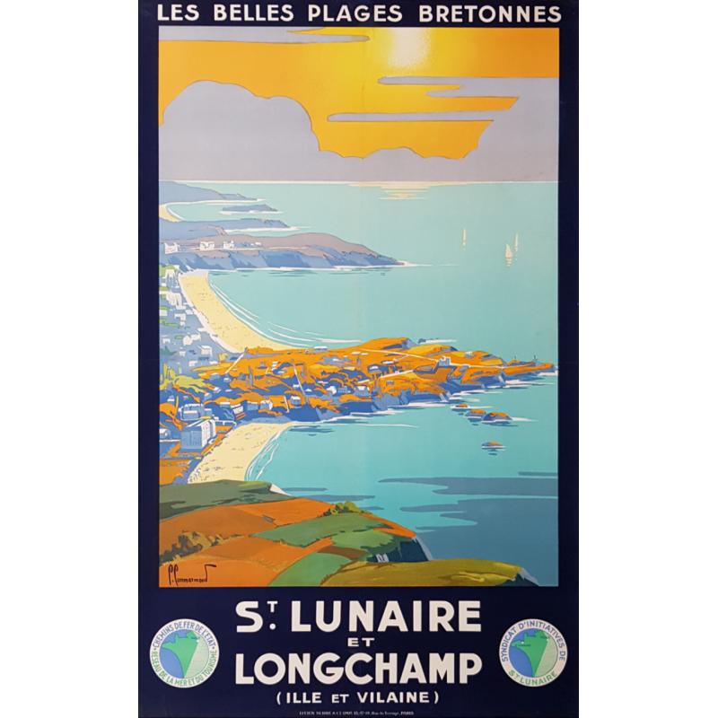 Affiche ancienne originale St Lunaire et Longchamp COMMARMOND