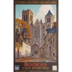 Affiche ancienne originale BOURGES Cité médiévale CONSTANT DUVAL
