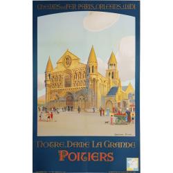 Affiche ancienne originale POITIERS Notre Dame La Grande CONSTANT DUVAL
