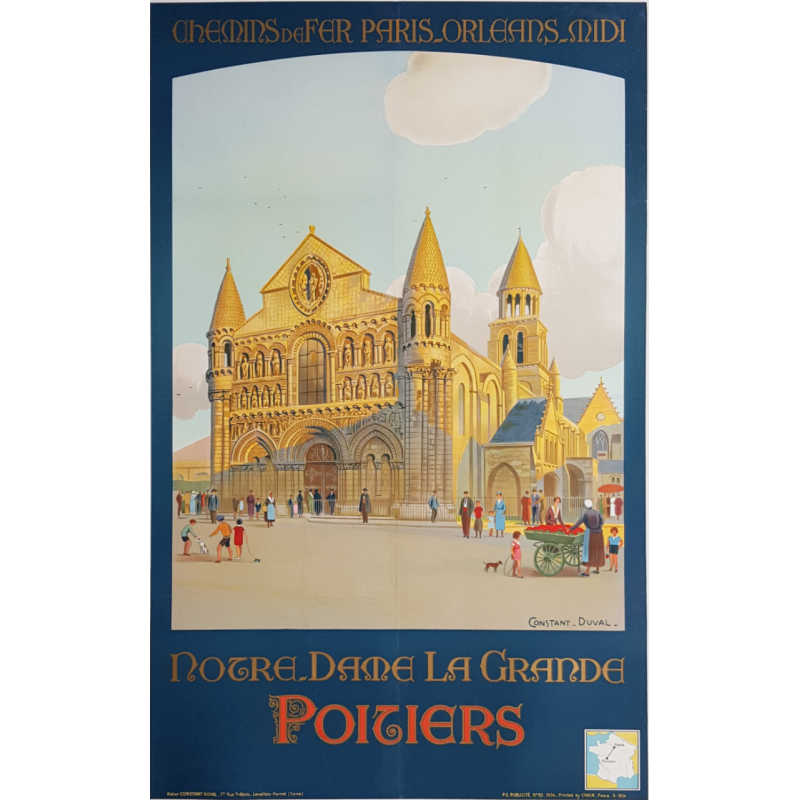 Original vintage poster POITIERS Notre Dame La Grande CONSTANT DUVAL