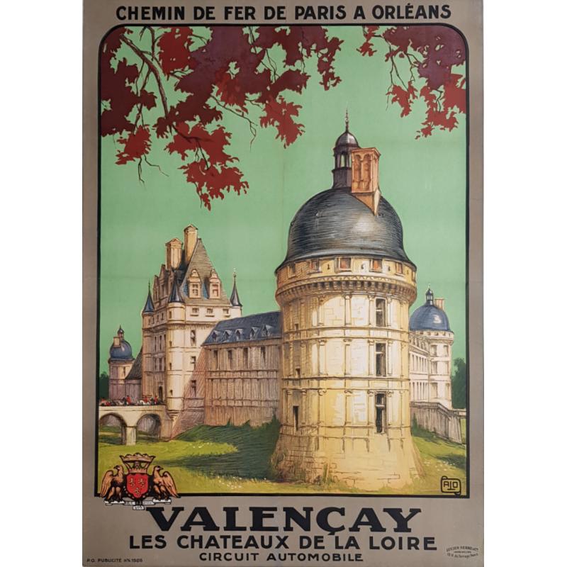 Affiche ancienne originale VALENCAY Chateaux de la Loire ALO