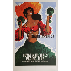 Affiche ancienne originale Royal Mail Lines Pacific Line South America