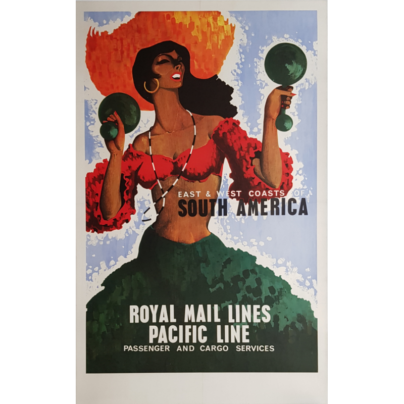 Affiche ancienne originale Royal Mail Lines Pacific Line South America