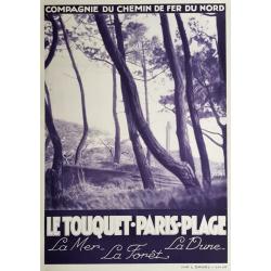 Affiche ancienne originale Le Touquet Paris Plage Chemin de fer du Nord