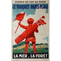 Affiche ancienne originale golf Le Touquet Paris-Plage Chemin de fer du Nord - Edouard COURCHINOUX