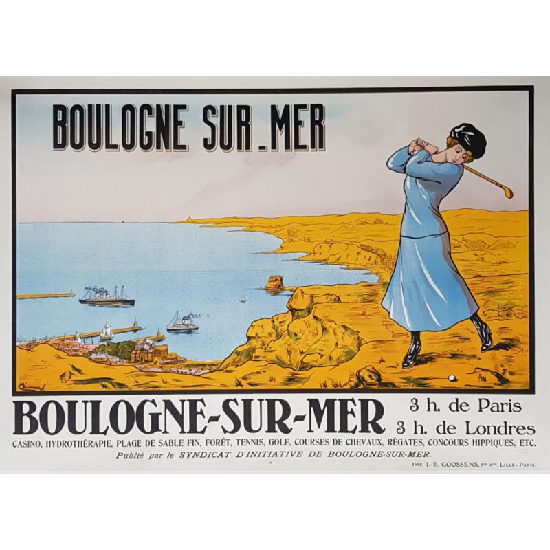 Affiche ancienne originale golf Boulogne sur Mer VERMERSCH