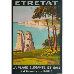 Affiche ancienne originale golf tennis casino Etretat Charles HALLÉ