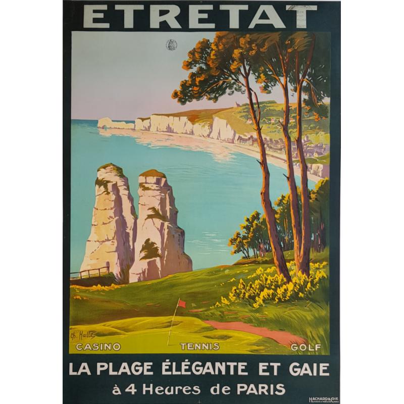 Original vintage poster golf tennis casino Etretat Charles HALLE