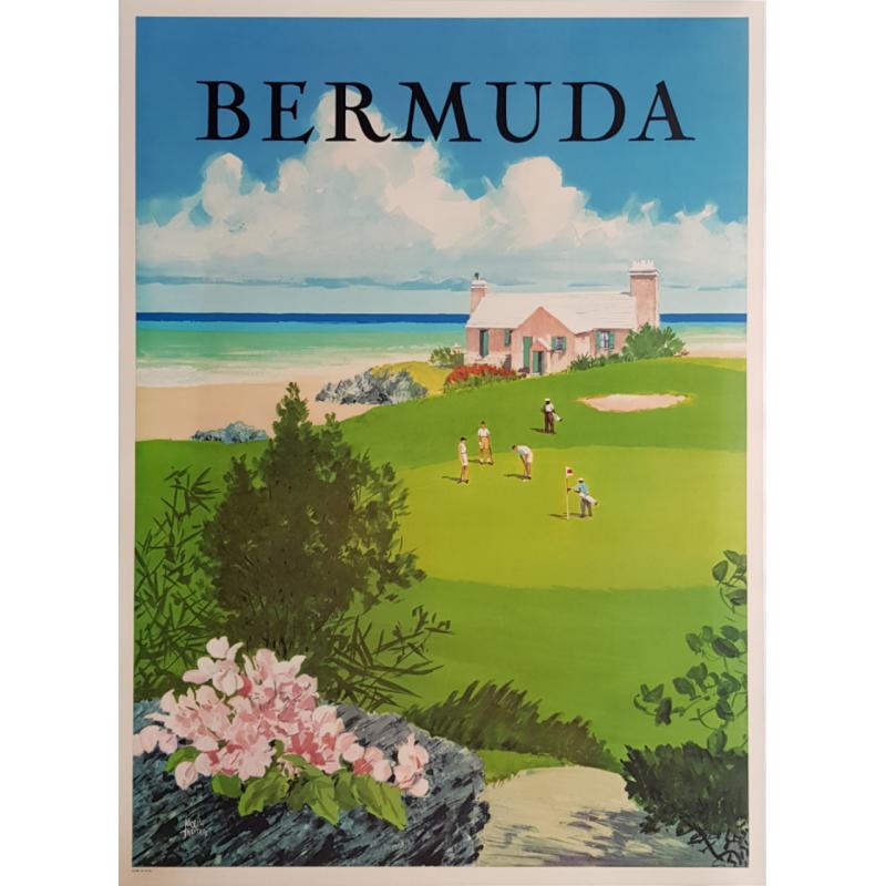 Affiche ancienne originale golf Bermuda Adolph TREIDLER