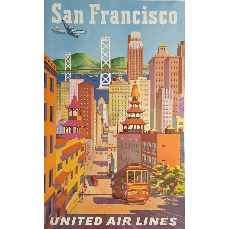 Affiche ancienne originale United Airlines San Francisco Joseph FEHER