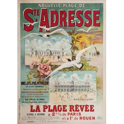 Affiche ancienne originale Nouvelle plage de Ste Adresse Normandie