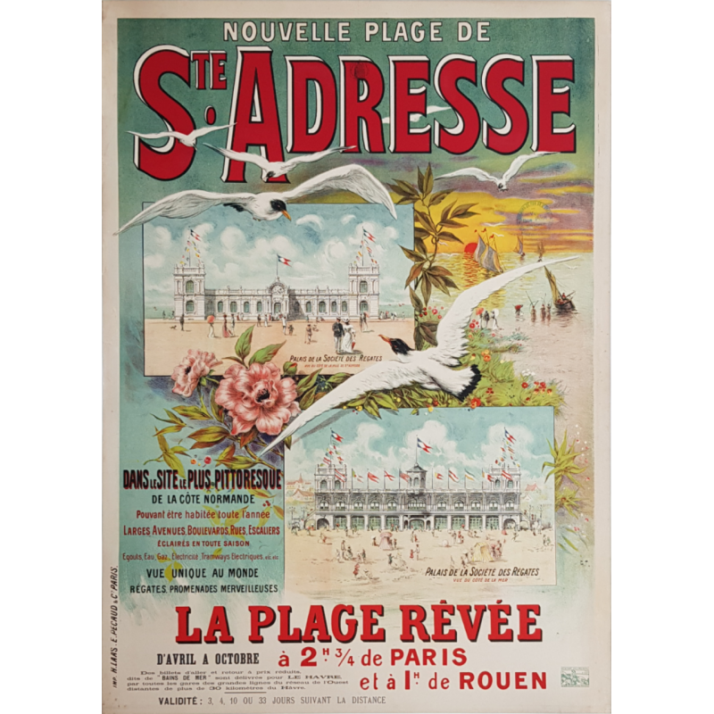 Original vintage poster Nouvelle plage de Ste Adresse Normandie