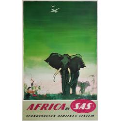 Affiche ancienne originale SAS Africa Elephants Otto Nielsen