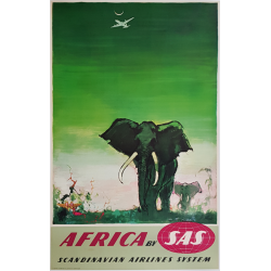 Original vintage poster SAS Africa Elephants Otto Nielsen