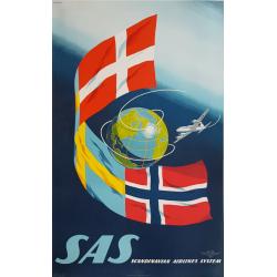 Affiche ancienne originale SAS Scandinavian Airlines System SVENSSON