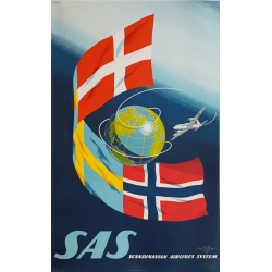 Original vintage poster SAS Scandinavian Airlines System SVENSSON