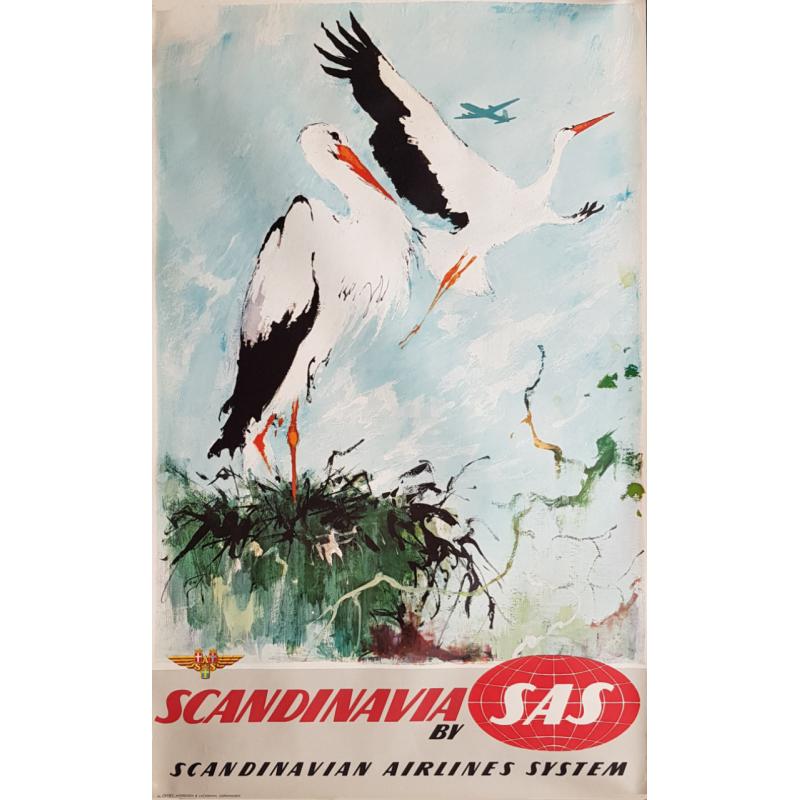 Affiche ancienne originale SAS Scandinavia Otto Nielsen