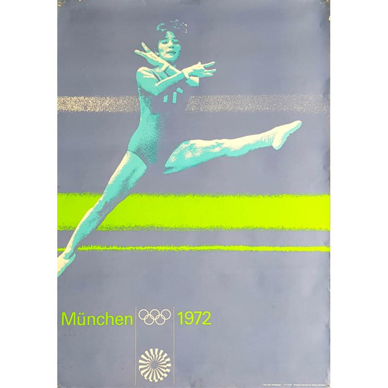 Affiche ancienne originale Jeux olympique gymnastique Munich 1972
