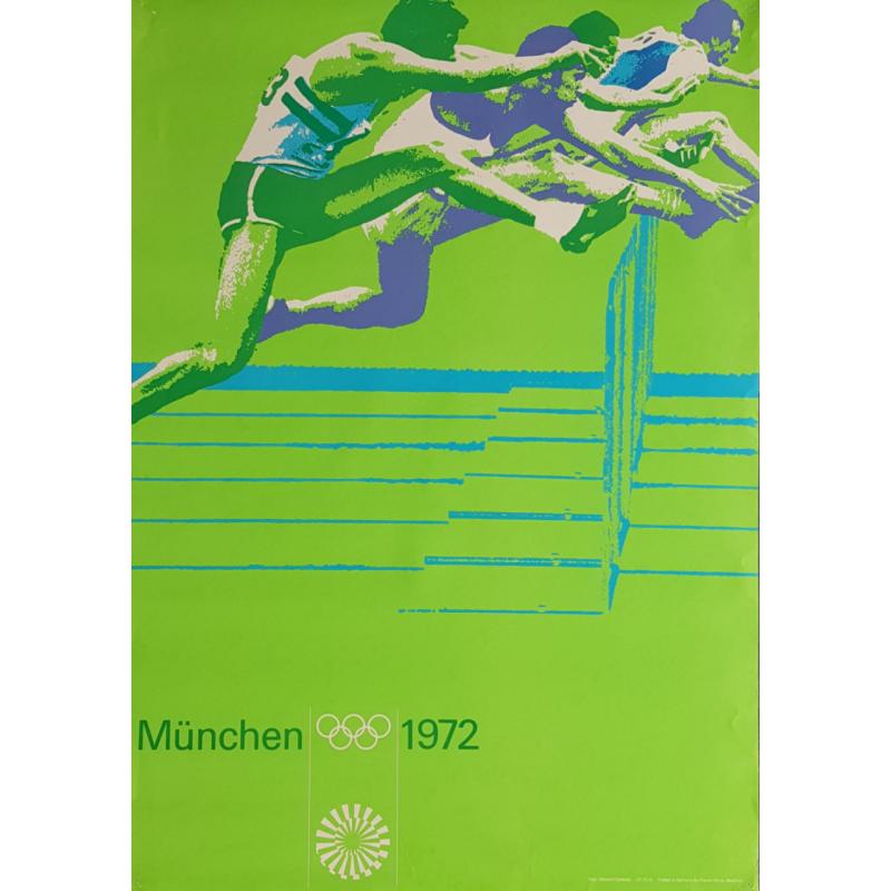Affiche ancienne originale Jeux olympiques athlétisme Munich 1972