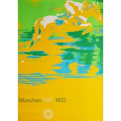 Affiche ancienne originale Jeux olympiques concours hippique Munich 1972