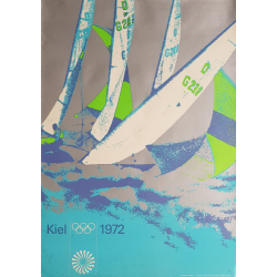 Affiche ancienne originale Jeux olympiques voile régate Munich 1972