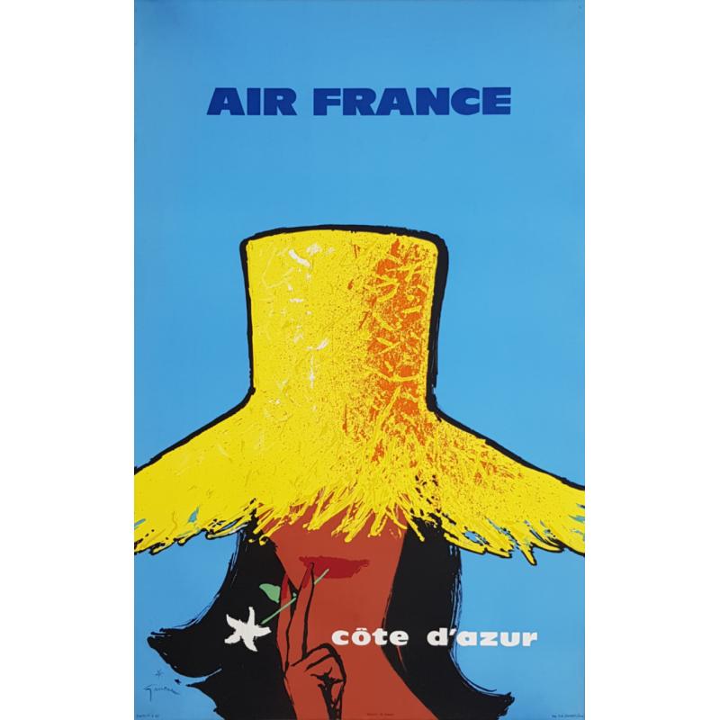 Affiche ancienne originale Air France Côte d'Azur GRUAU